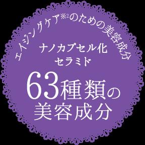 エイジングケア※2のための美容成分 ナノカプセル化セラミド 63種類の美容成分
