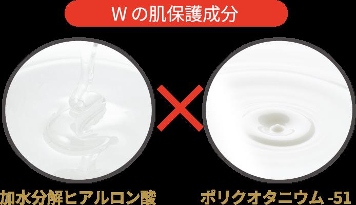 Wの肌保護成分 加水分解ヒアルロン酸×ポリクオタニウム-51