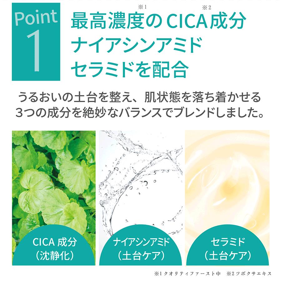 POINT1 最高濃度※1のCICA※2成分ナイアシンアミドセラミドを配合 うるおいの土台を整え、肌状態を落ち着かせる3つの成分を絶妙なバランスでブレンドしました。CICA成分(沈静化)・ナイアシンアミド(土台ケア)・セラミド(土台ケア)